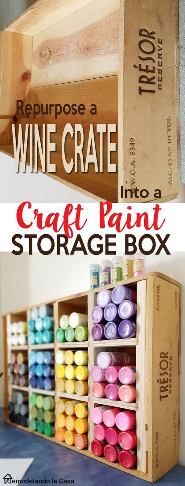 Repurposed Craft Paint Storage Box.