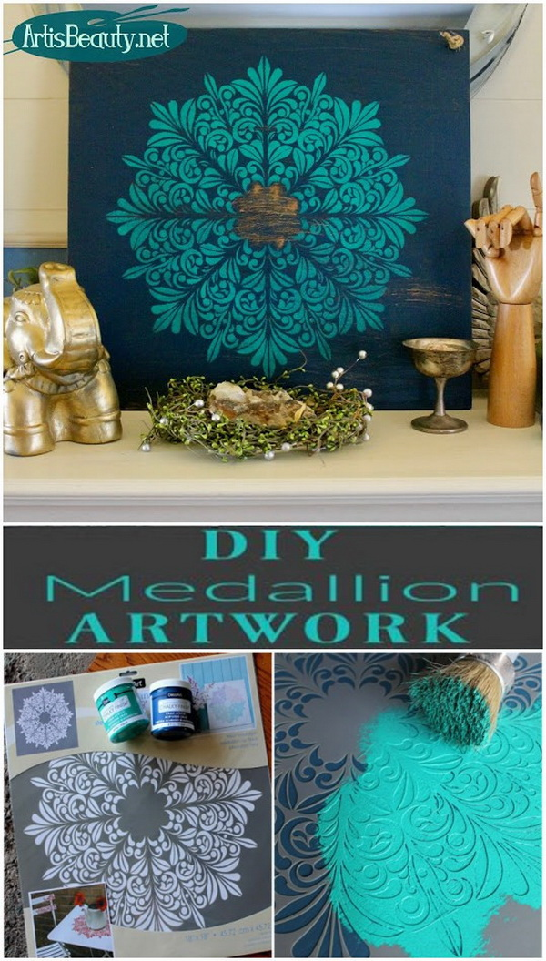 DIY Medallion Wall Art from an Old Shelf.