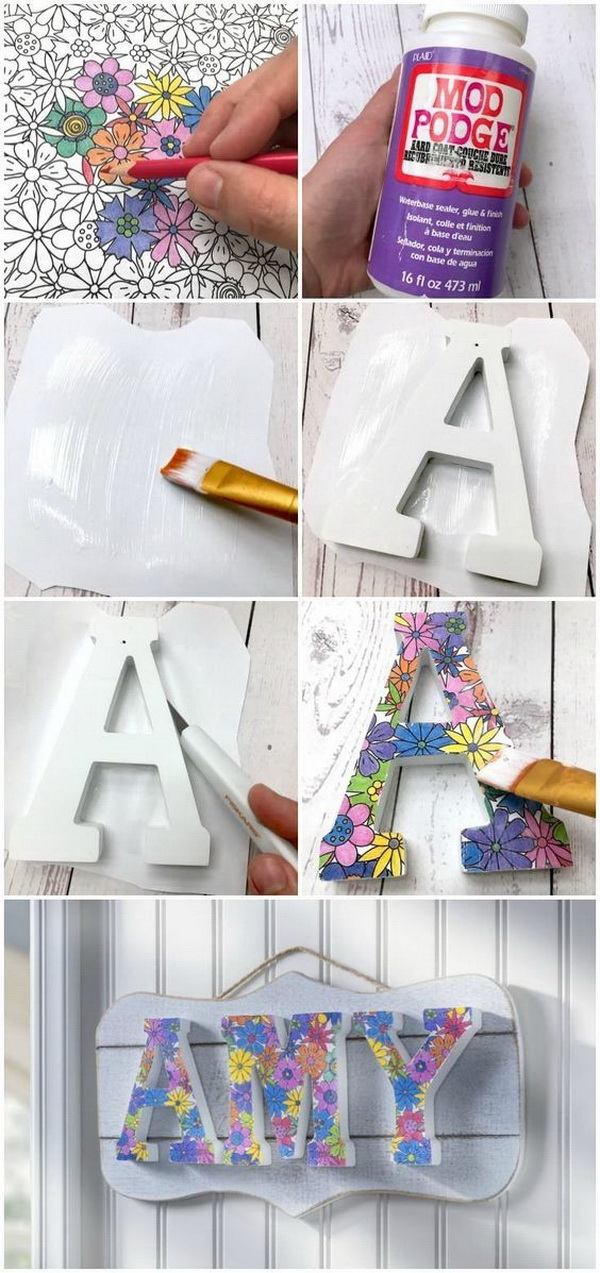 Coloring Book DIY Name Plaque.