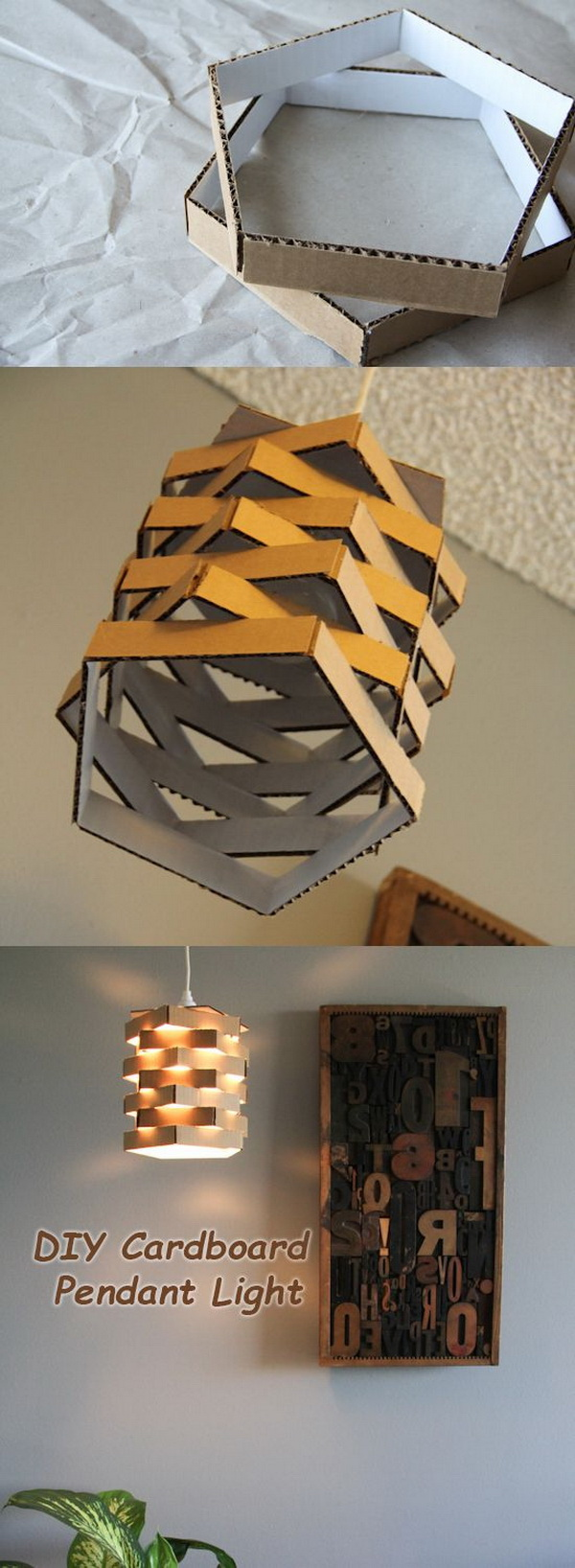 DIY Cardboard Pendant Light.