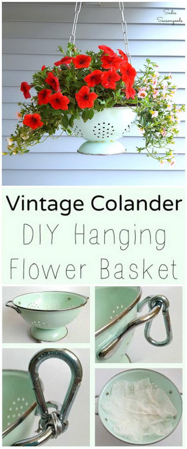 Vintage Colander Planter.