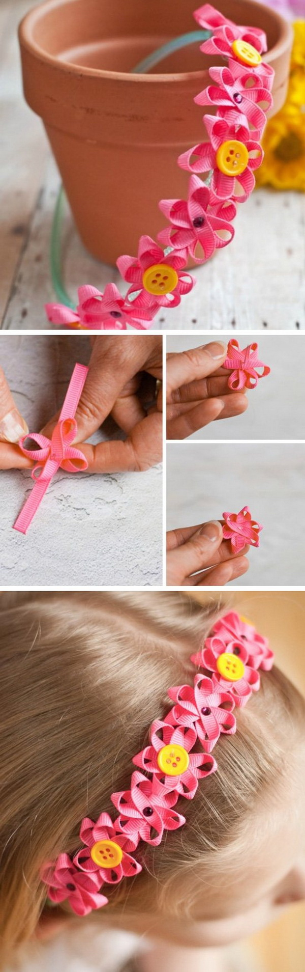 Easy Kids Craft Ideas: Ribbon Flower Headband.