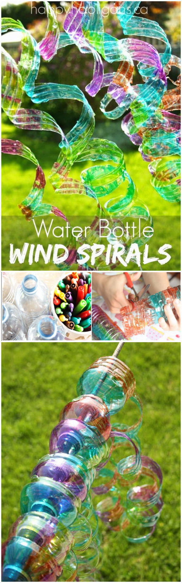 Easy Kids Craft Ideas: Water Bottle Wind Spirals.
