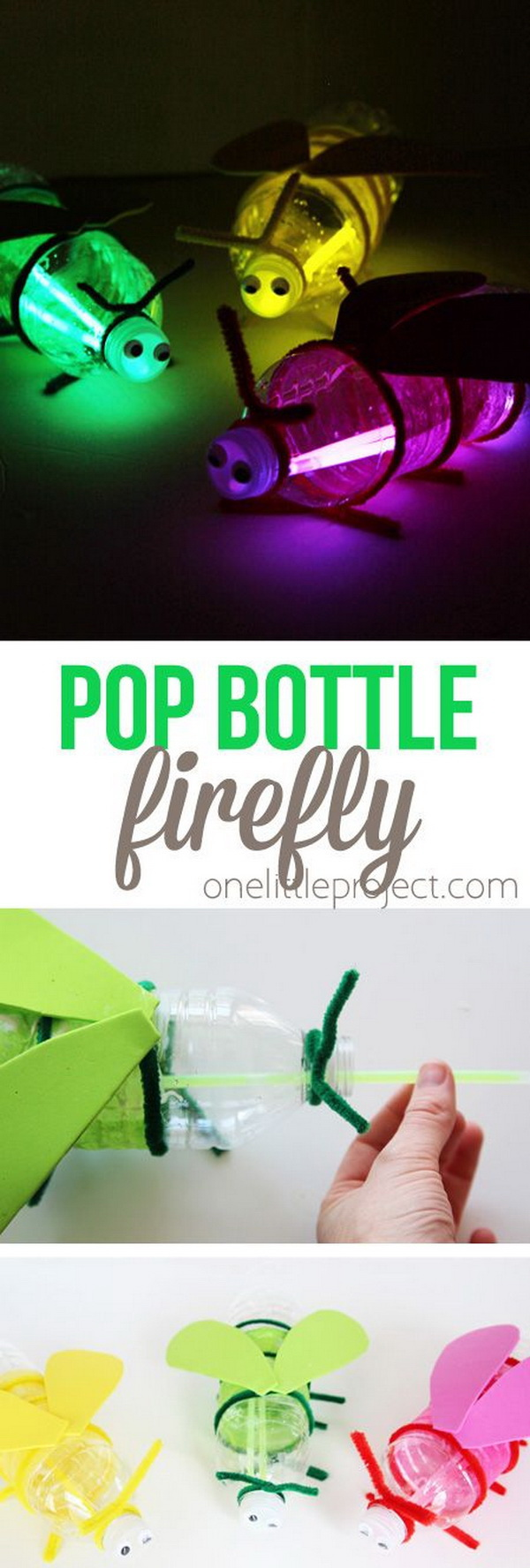 Easy Kids Craft Ideas: Handmade Pop Bottle Firefly.