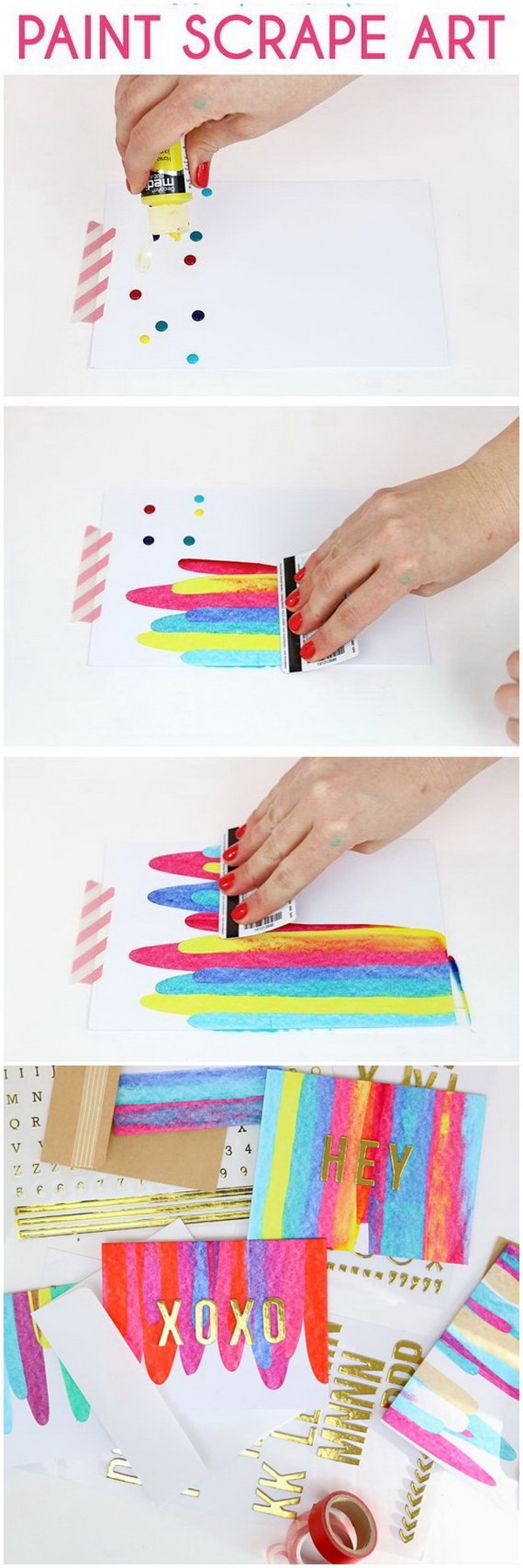 Easy Kids Craft Ideas: DIY Paint Scrape Notecards.