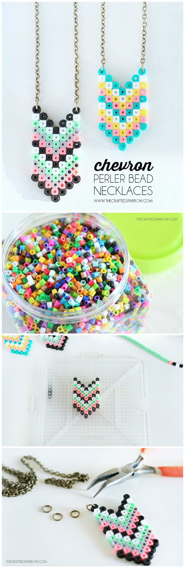 Easy Kids Craft Ideas: Chevron Perler Bead Necklaces.