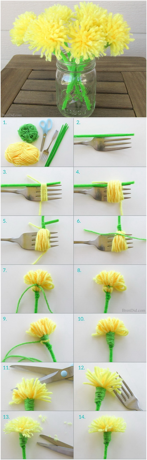 Easy Kids Craft Ideas: DIY Dandelion Tassel Bouquet.