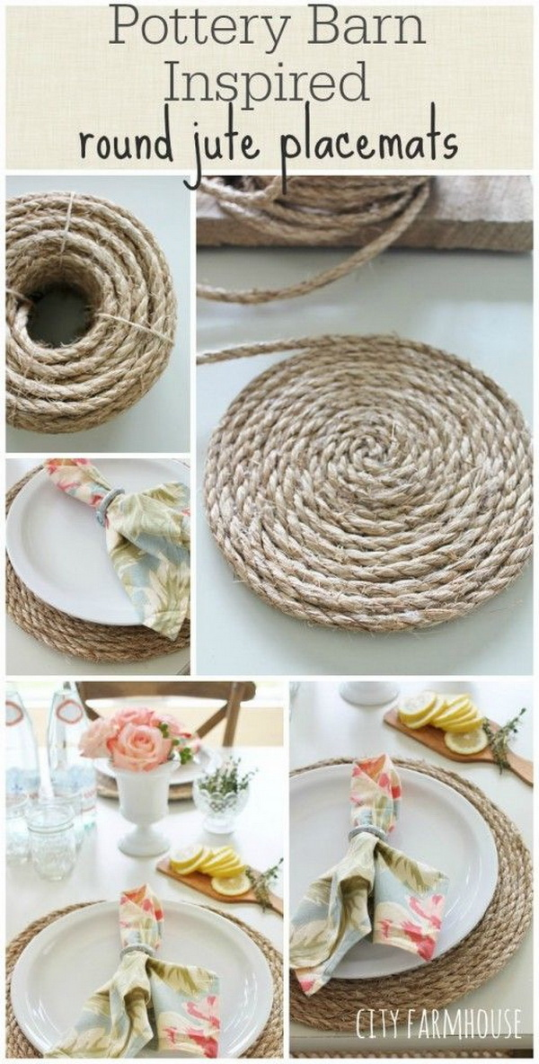 Pottery Barn Inspired Round Jute Placemats.