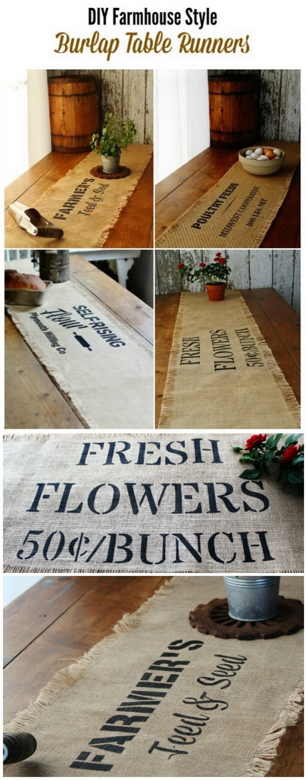 DIY Farmhouse Style Burlap Table Runners.