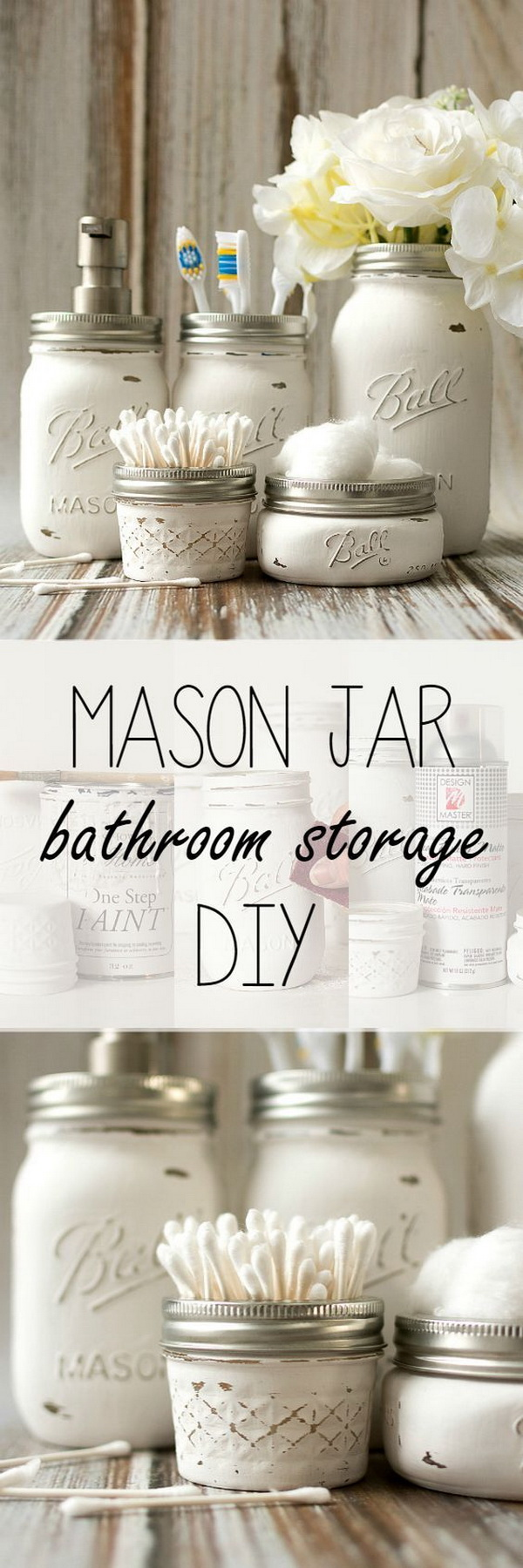 Mason Jar Bathroom Storage.