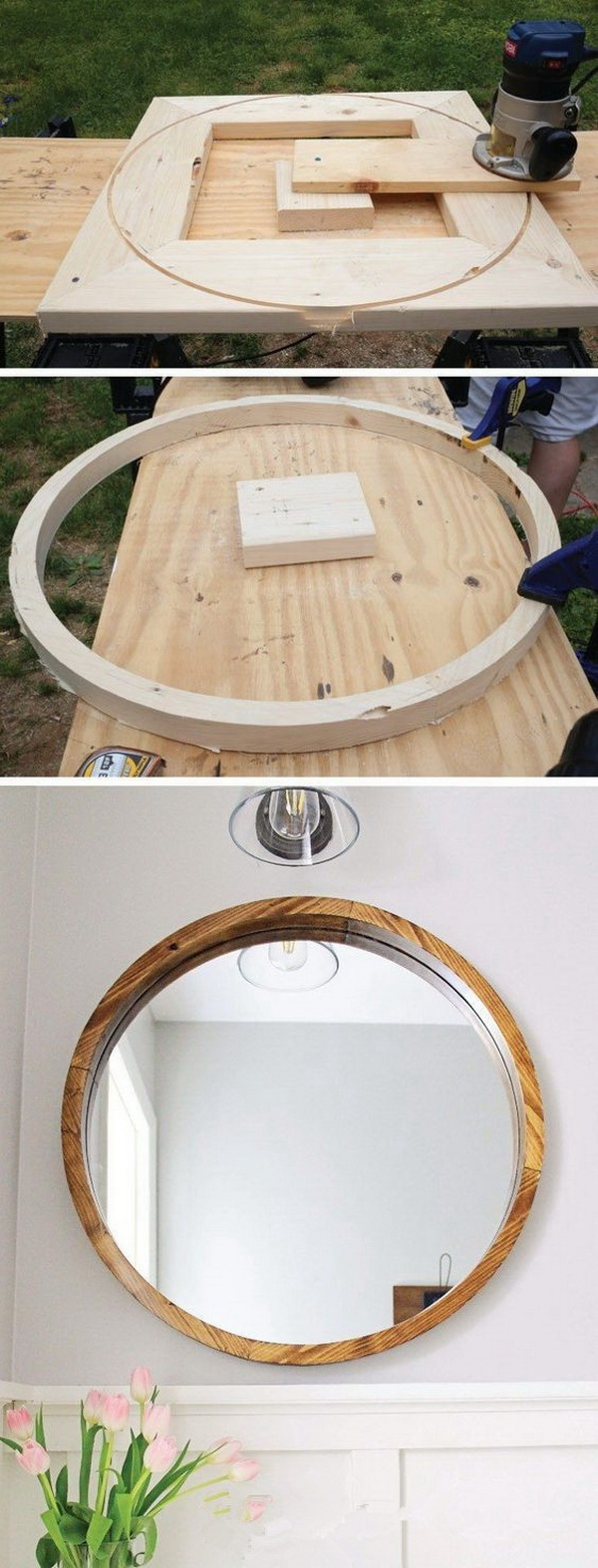 DIY Round Wood Framed Mirror.