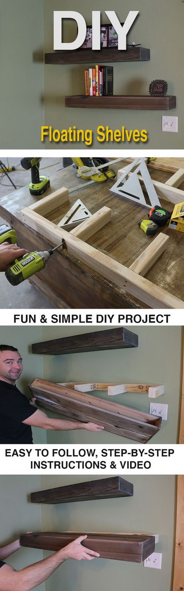 DIY Wood Floating Shelf.