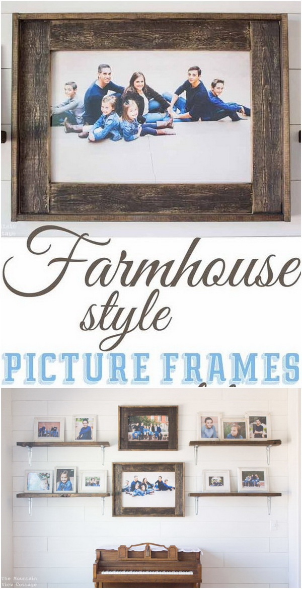 DIY Farmhouse Inspired Wood Picture Frames.
