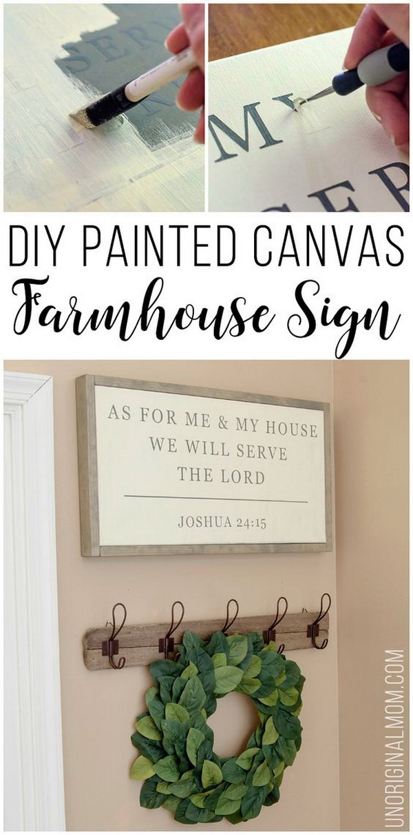 DIY Painted Canvas Farmhouse Sign.