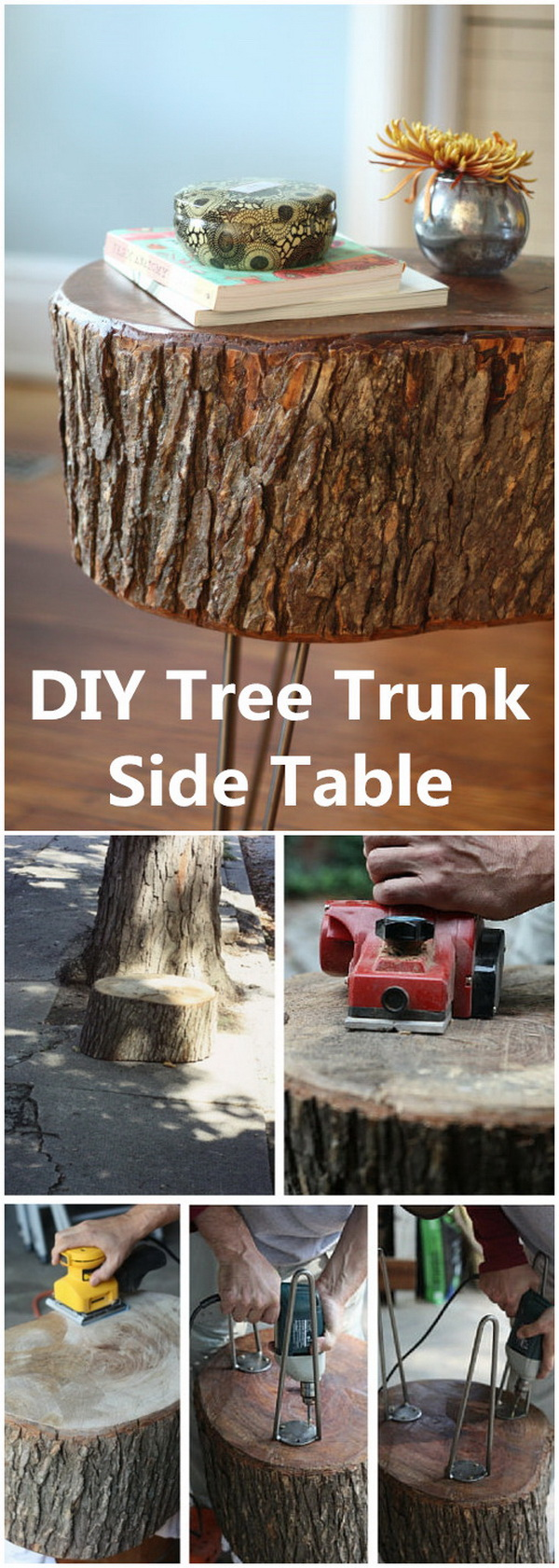DIY Tree Trunk Side Table.
