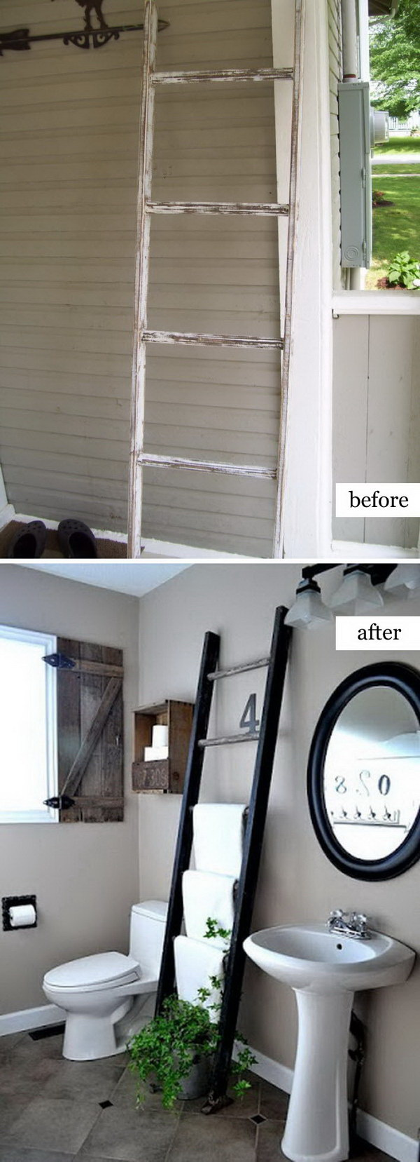 Funiture Makeovers: Ladder Towel Rack.
