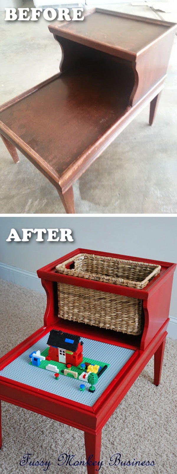 Funiture Makeovers: Clever Lego Table Made out of an Old Table.