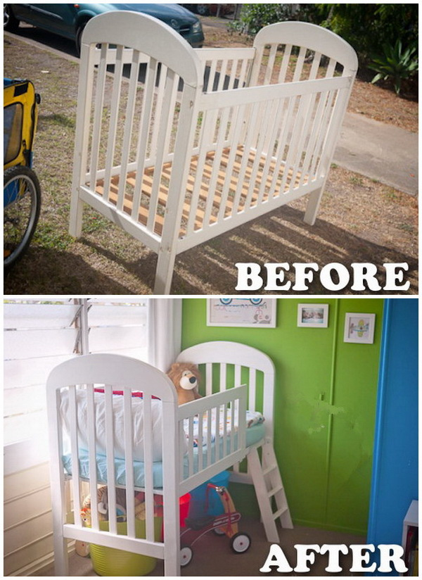 Funiture Makeovers: Turn a Crib to a Toddler Loft Bed.