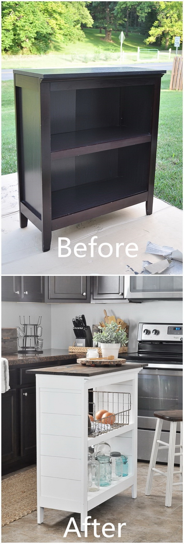 Funiture Makeovers: DIY Bookshelf Kitchen Island.