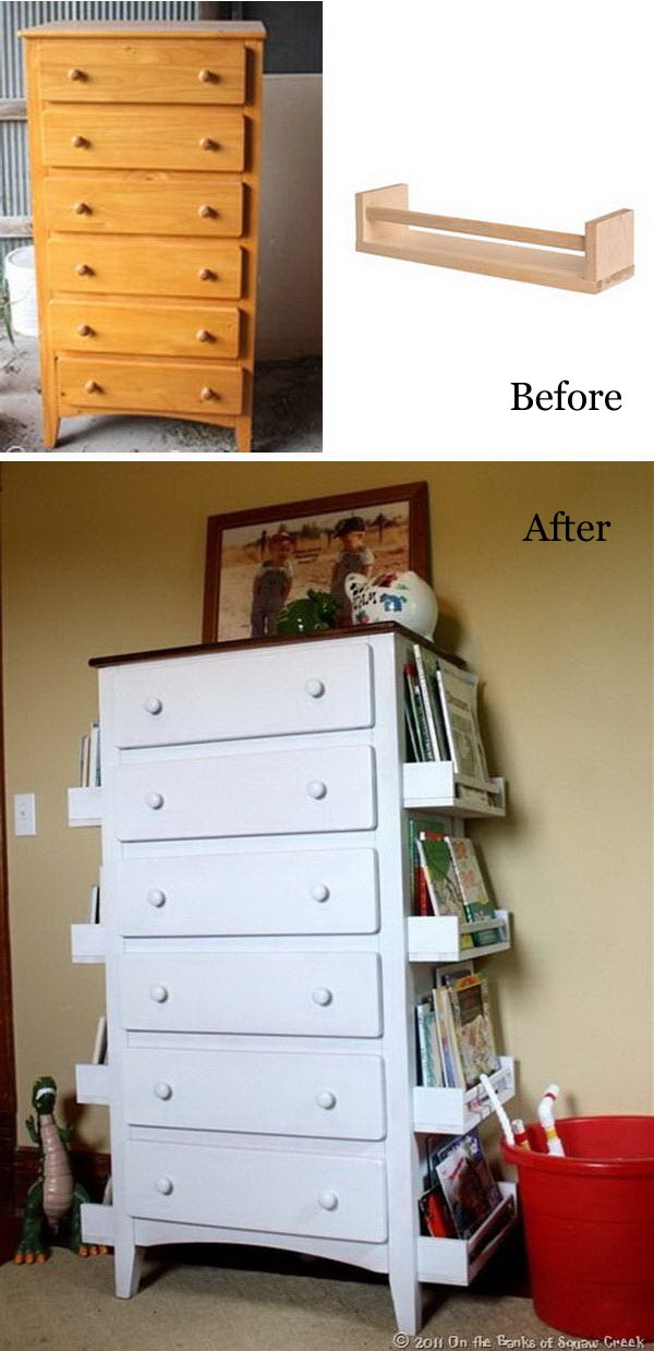 Funiture Makeovers: Turn Old Drawers Into Kids Bookshelves.
