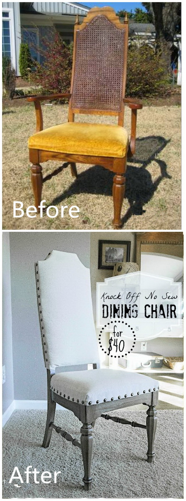 Funiture Makeovers: Knock Off No Sew Dining Chairs.