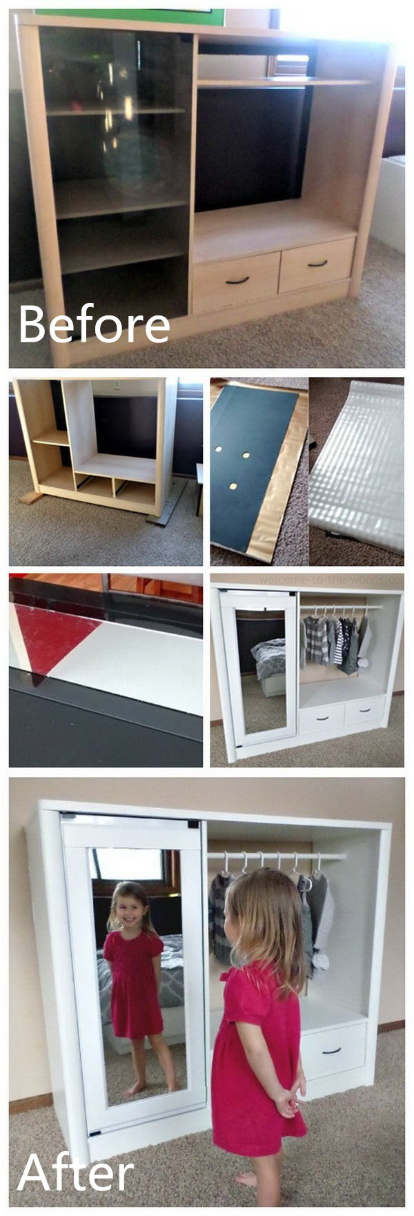 Funiture Makeovers: Entertainment Center Turned Kids Closet Armoire.