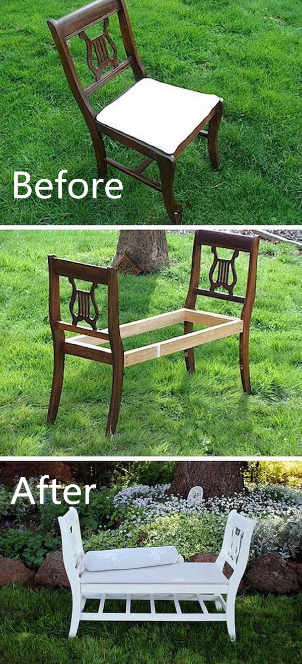Funiture Makeovers: French-Style Bench From Old Chairs.