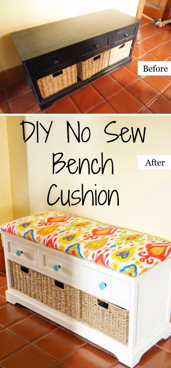 Funiture Makeovers: From Old Dresser to DIY No Sew Bench Cushion.