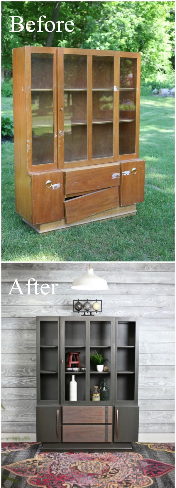 Funiture Makeovers: Mid Century Modern Painted Hutch.