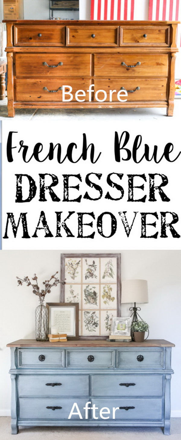 Funiture Makeovers: French Blue Dresser Makeover.