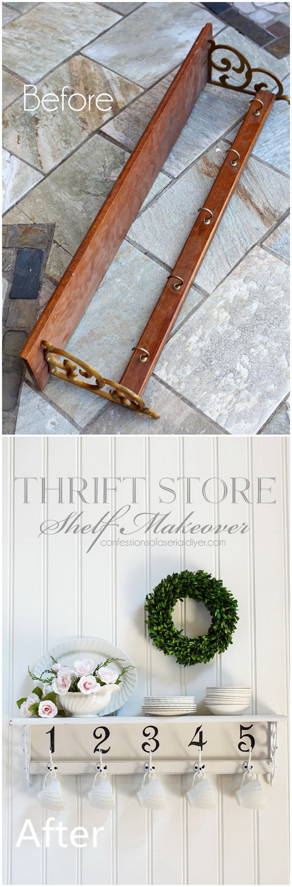 Funiture Makeovers: Thrift Store Shelf Makeover.