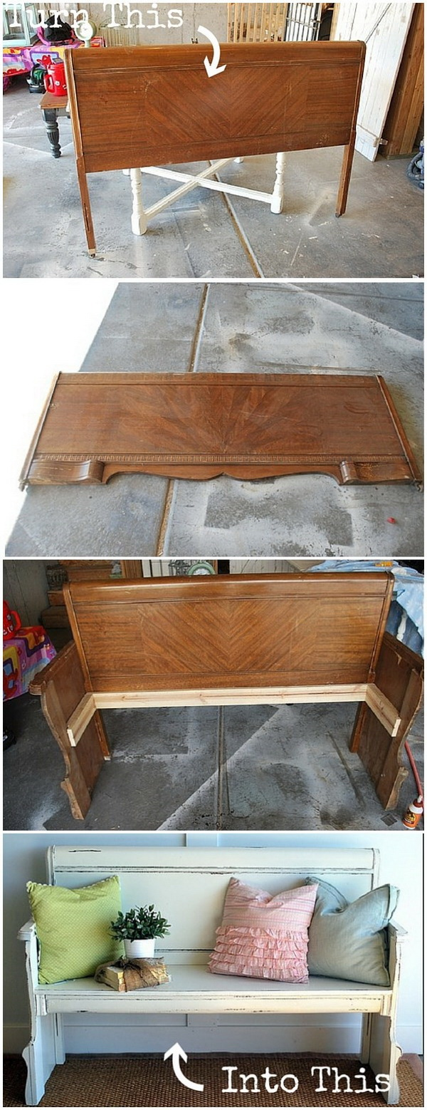 Funiture Makeovers: Repurposed Headboard into a Bench.