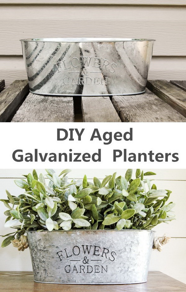 DIY Aged Galvanized Planter. If you do not like the metal