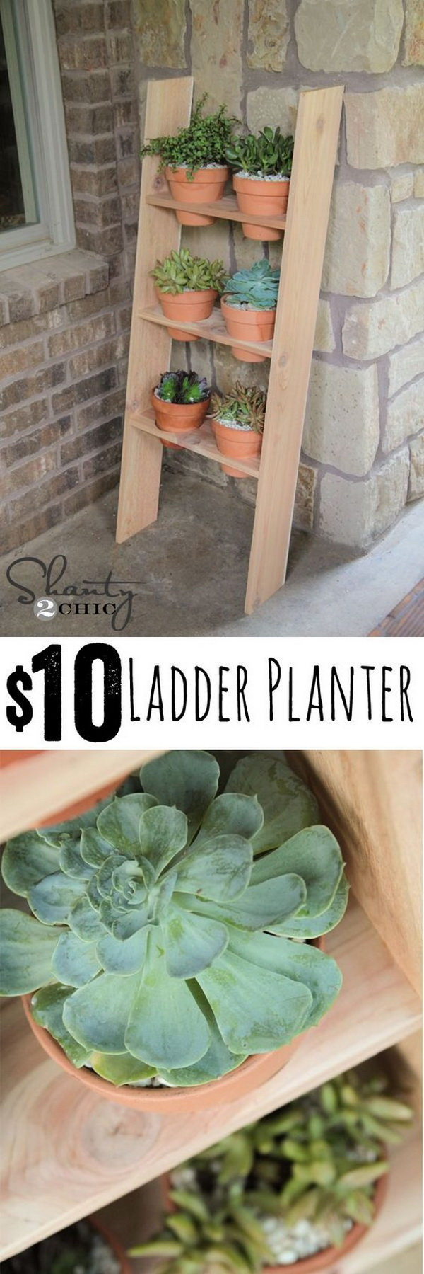$10 Ladder Planter. A quick and easy DIY planter project that anyone can make.