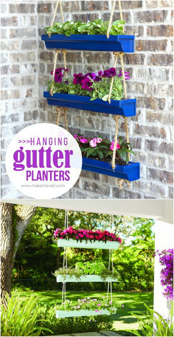 Hanging Rain Gutter Planters. Those super cute Hanging Rain Gutter Planters just cost under $20 to make on your own. What you need are some pallet woods and inexpensive rope!