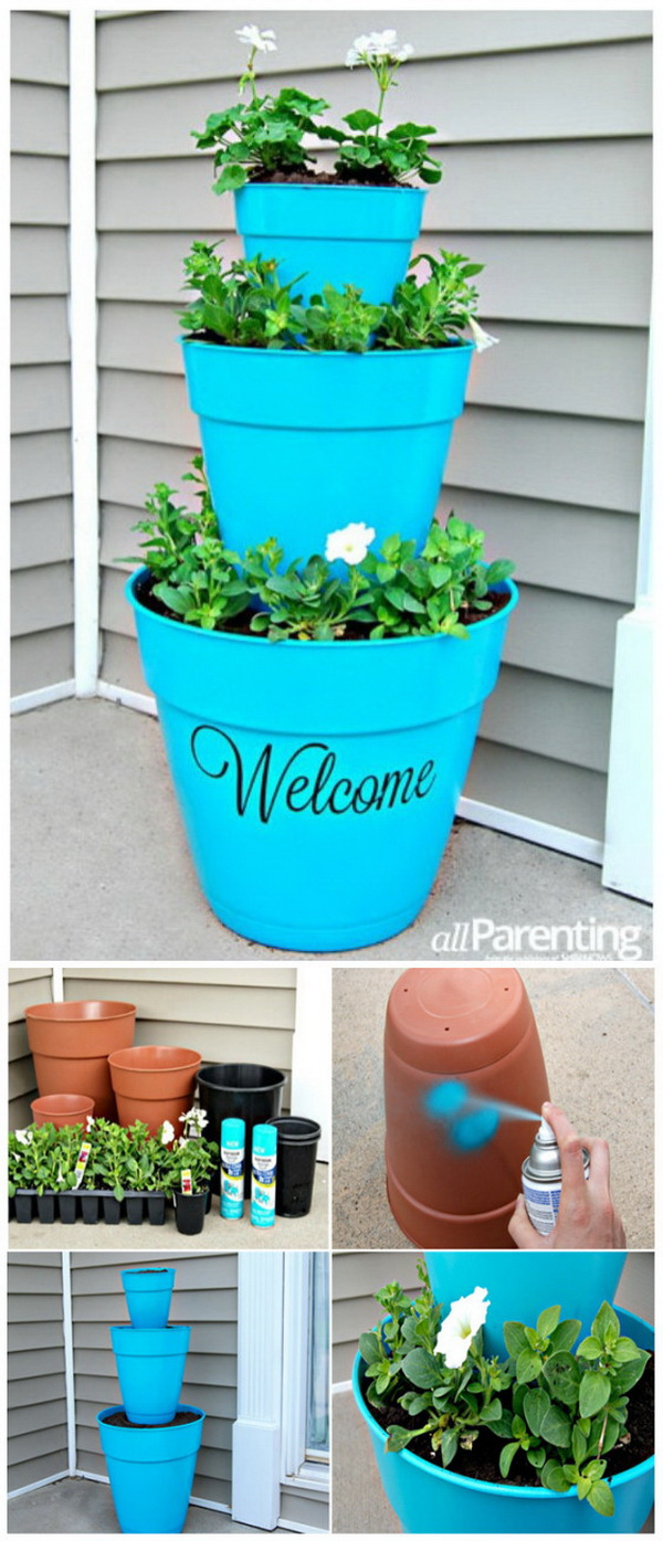 Stacked Pot Planter. Instead of sitting your potted plants on the porch, try to create this stacked planter and give your décor a bit of uniqueness. This is so easy to make and great for springtime decor with bright colors.