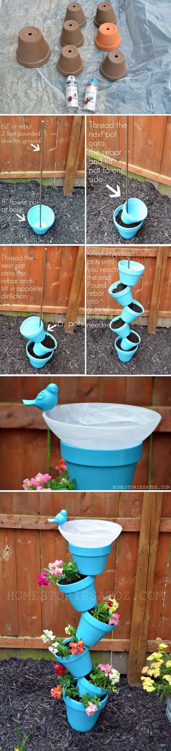 DIY Tower Garden Planter and Bird Bath. A great DIY garden project that was for the birds! It will be the perfect addition to a garden.