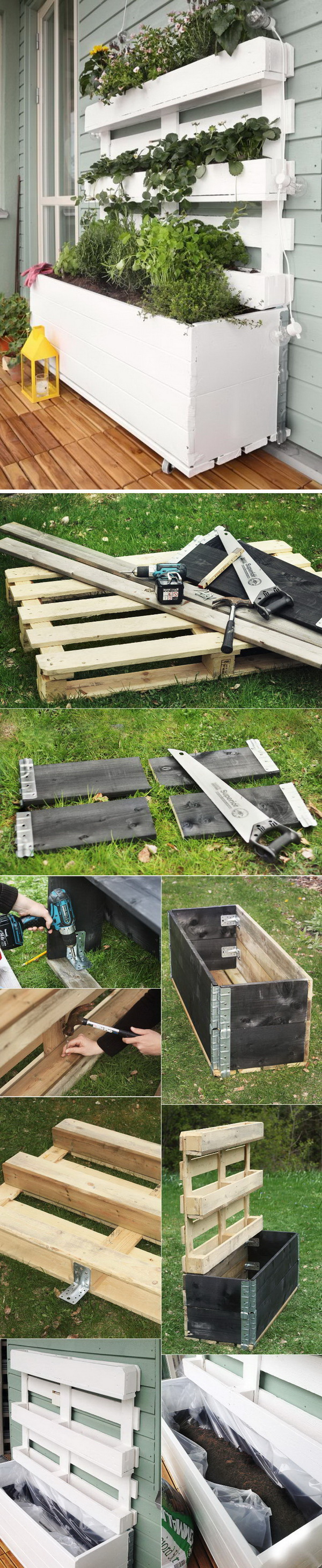 DIY Pallet Planter Box. DIY planter box made from recycled pallets. Great addition to your beautiful porch!
