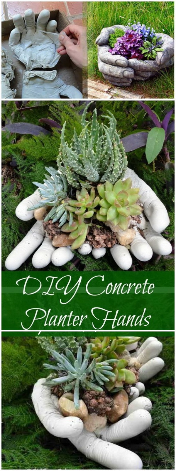 DIY Concrete Hand Planters. Make a collection of these unique hand planters with concrete to decorate your outdoor space!
