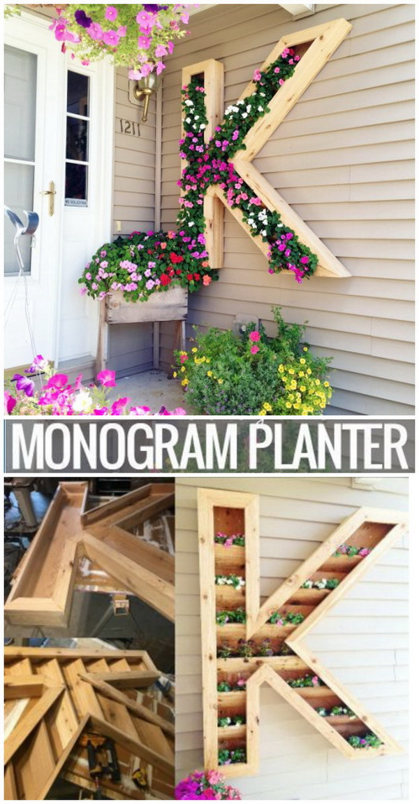 DIY Monogram Planter. Add some welcoming and personalized decoration style to your home with a DIY Monogram Planter Box. Easy to make and adds a beautiful touch to any home!