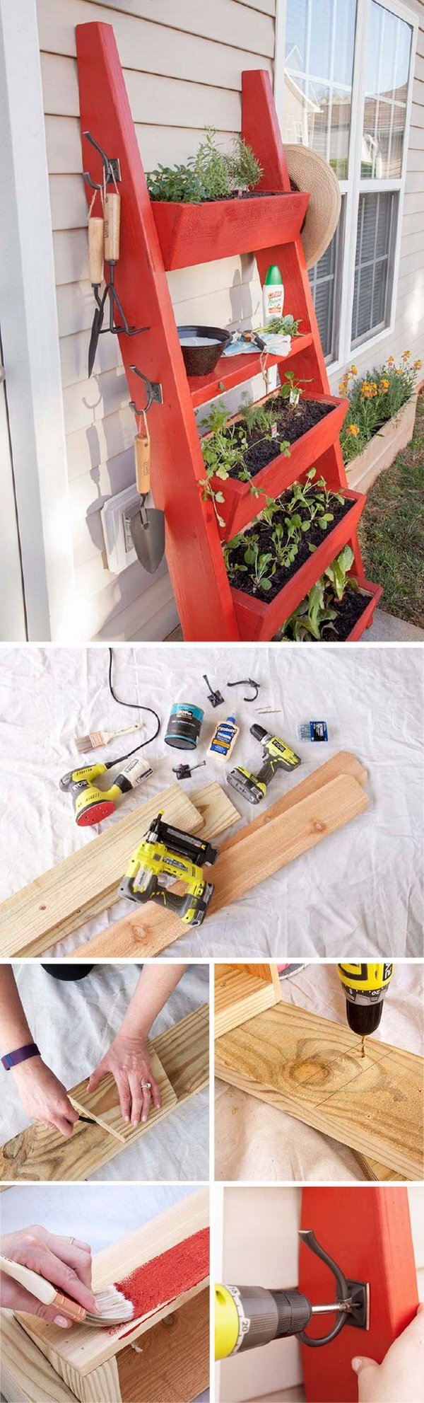 DIY Ladder Planter Box.