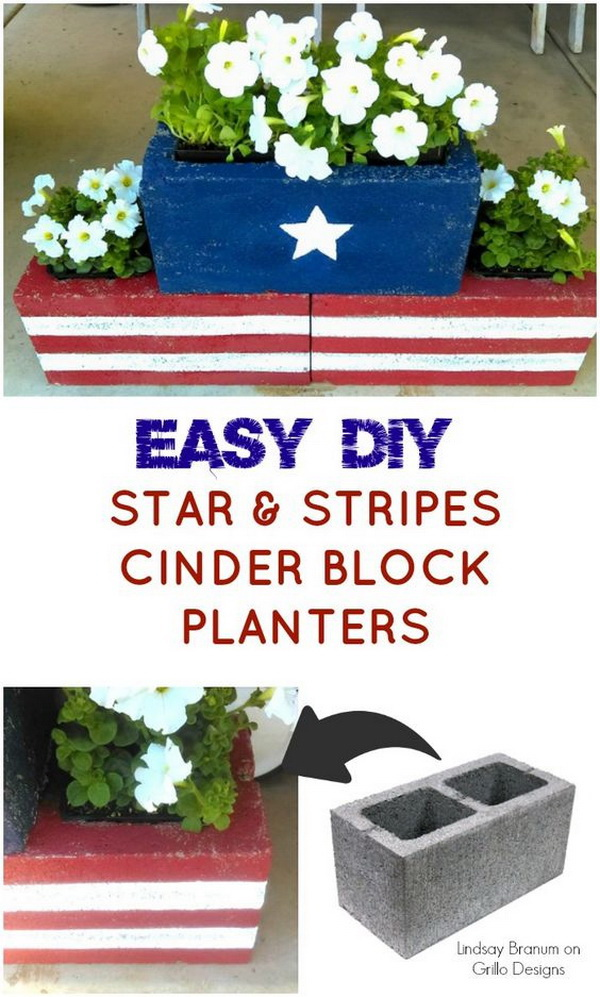 DIY Stars and Strips Cinder Block Planters. Learn how to make these easy DIY cinder block planters for you back garden for 4th of July or all year round!