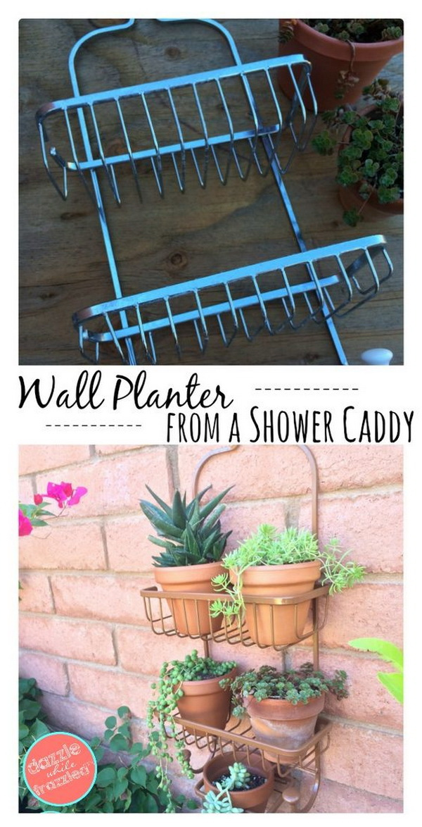DIY Vertical Wall Planter With Shower Caddy. If you also have an old shower caddy sitting gathering dust in your garage like me, don't turn it into trash into the garbage so quickly. Here is a clever inspiration for you to make it into a great vertical wall planter.