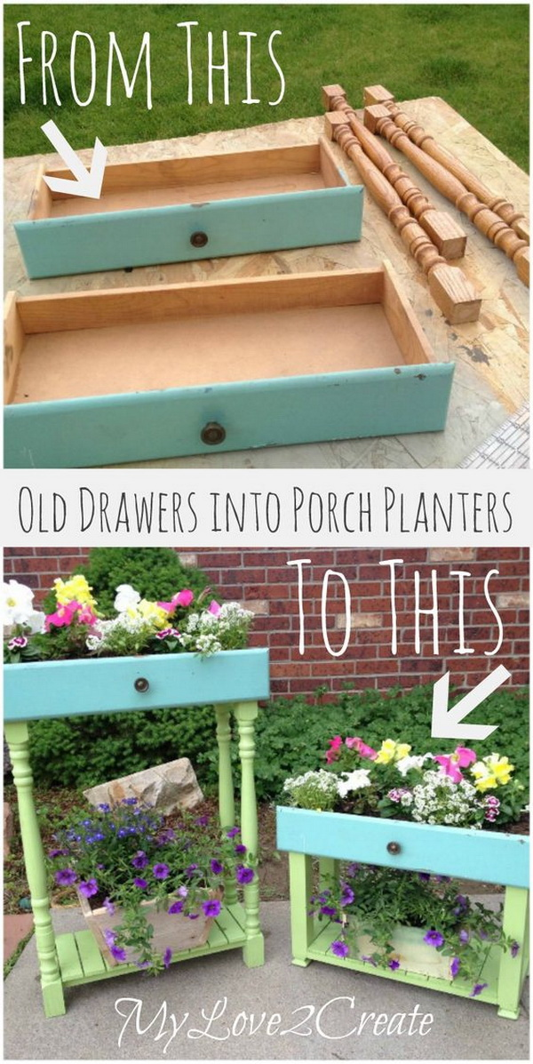 Old Drawers Into Porch Planters. Don't overlook old dressers and filing cabinets as junk! Reuse the drawers as planters for your porch or patio. It will be a great garden or indoor landscape that you can DIY.