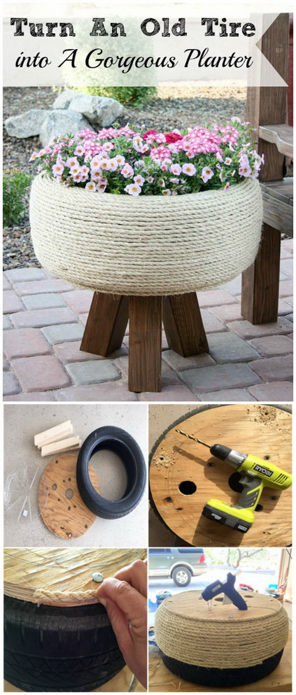 DIY Gorgeous Planter With an Old Tire. Turn an old tire into a gorgeous planter for indoor or porch. A creative way to make good use of old tires with this upcycling project.