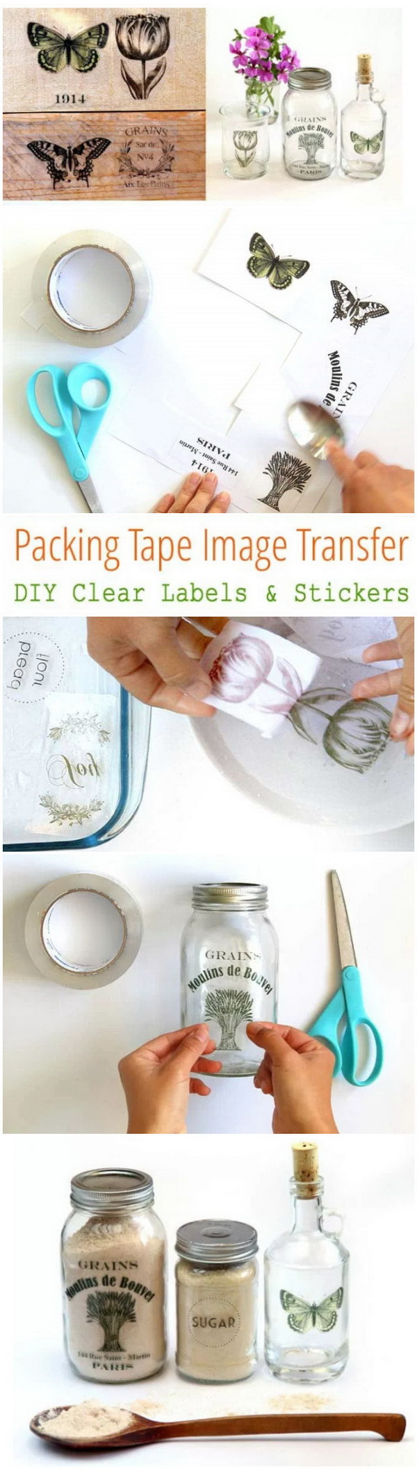 DIY Clear Labels And Stickers: Image Transfer Using Packing Tape.