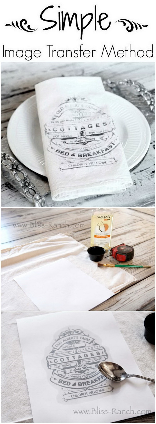 DIY Dinner Napkin Image Transfer.