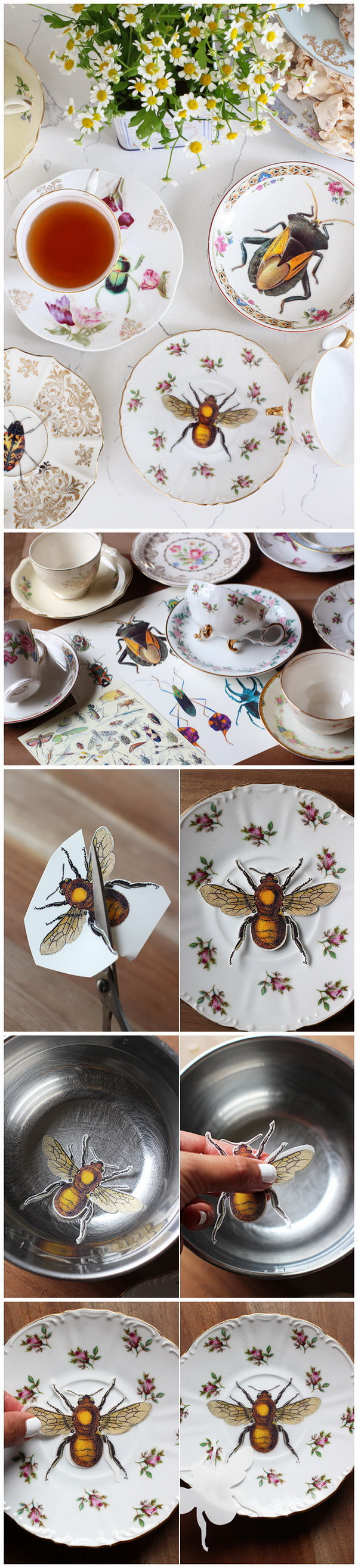 DIY Upcycled Vintage Plates with Image Transfer.