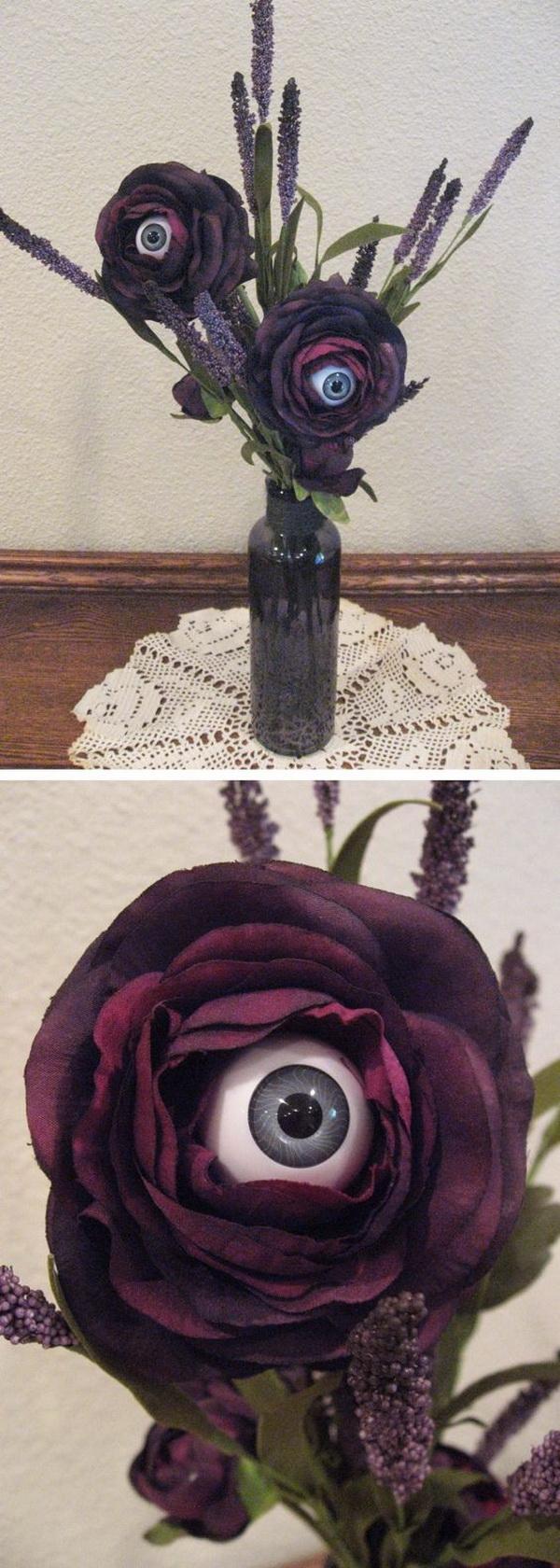 Halloween Flower Centerpiece with Eyeballs.