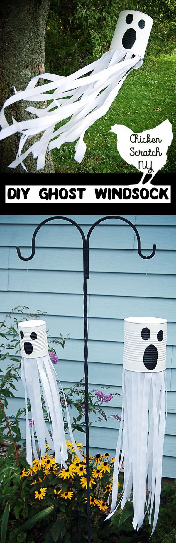 DIY Tin Can Ghost Windsock.